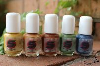 The Falling Leaves collection, from L to R: Harvest, Pumpkin Spice, Hot Cocoa, Evergreen, Autumn Sky