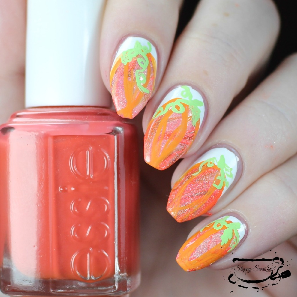 Pumpkin watermarble nails