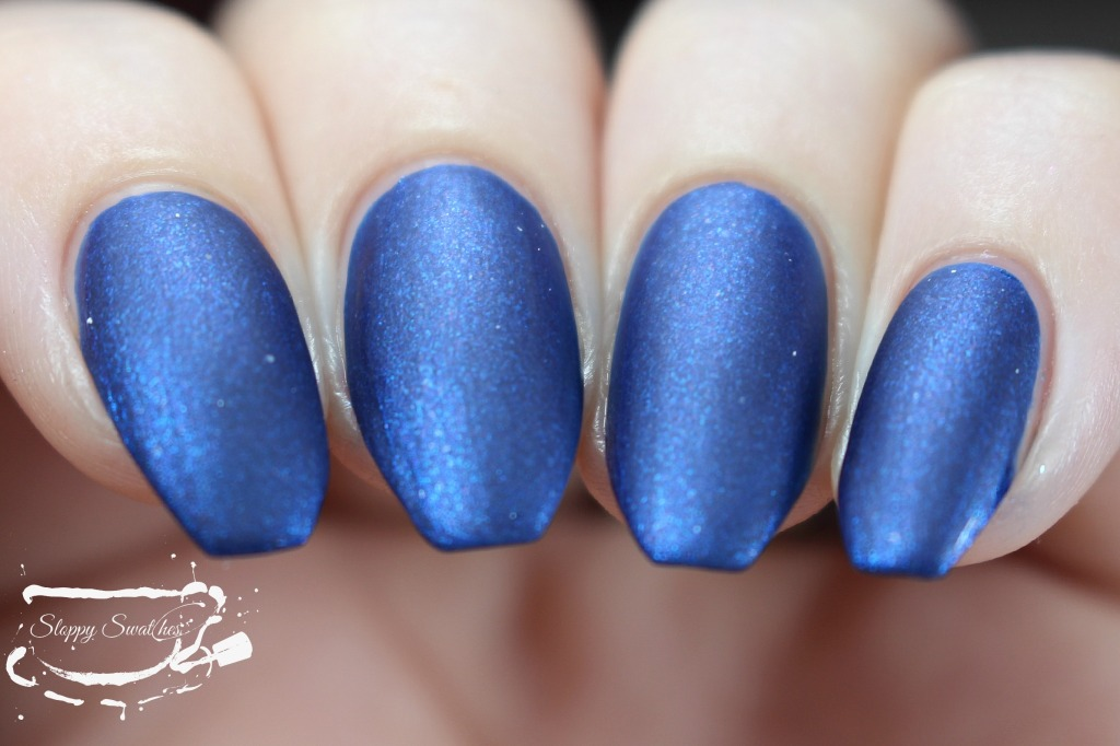 Forget Me Not matte at 2 coats with topcoat under artificial lighting