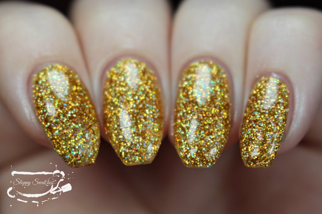 Golden Girl at an angle at 3 coats plus topcoat under artificial lighting