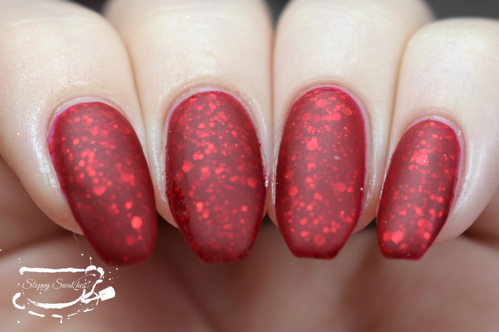 You're My Lobster matte at 3 coats plus topcoat under artificial lighting