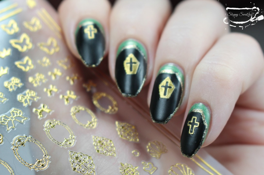 Finished gold outlined coffin nails