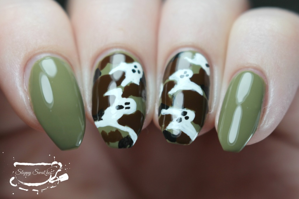 Camo ghost nails at an angle