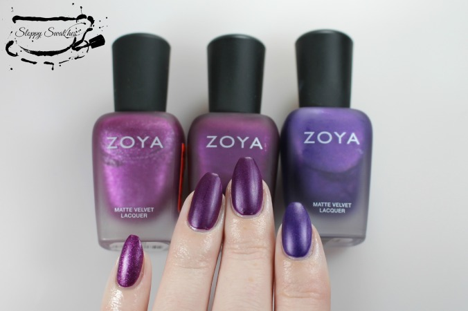From L to R: Harlow, Iris, Savita matte at 2 coats.