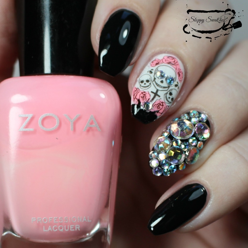Blinged Out Skull Mani