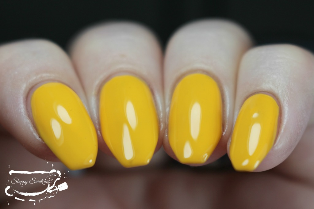 Rubber Ducky at 3 coats topped with KB Shimmer's Clearly On Top