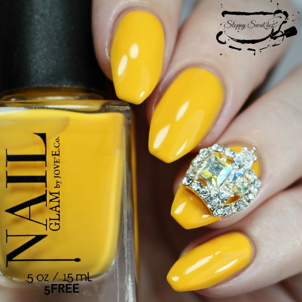 Rubber Ducky at 3 coats topped with KB Shimmer's Clearly On Top and a rhinestone from Virtuous Polish