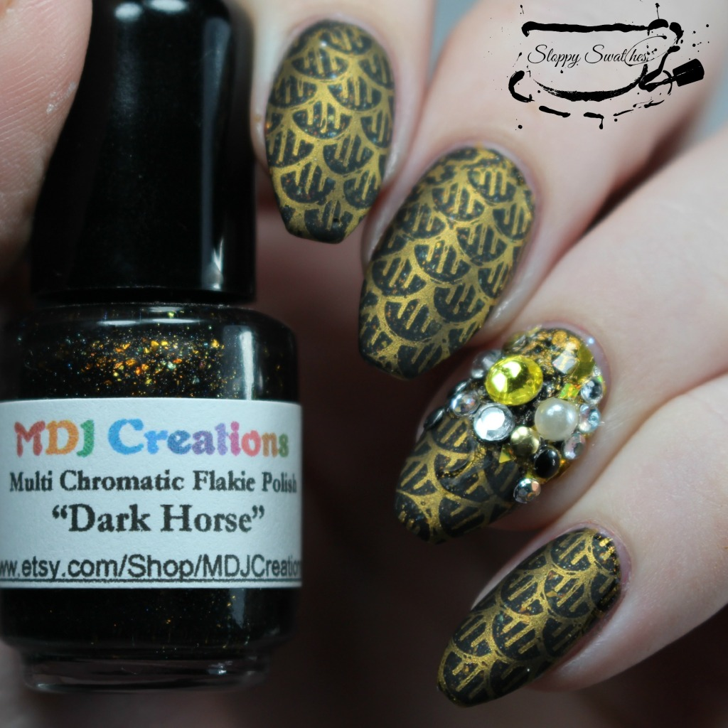 Matted finished stamped mani