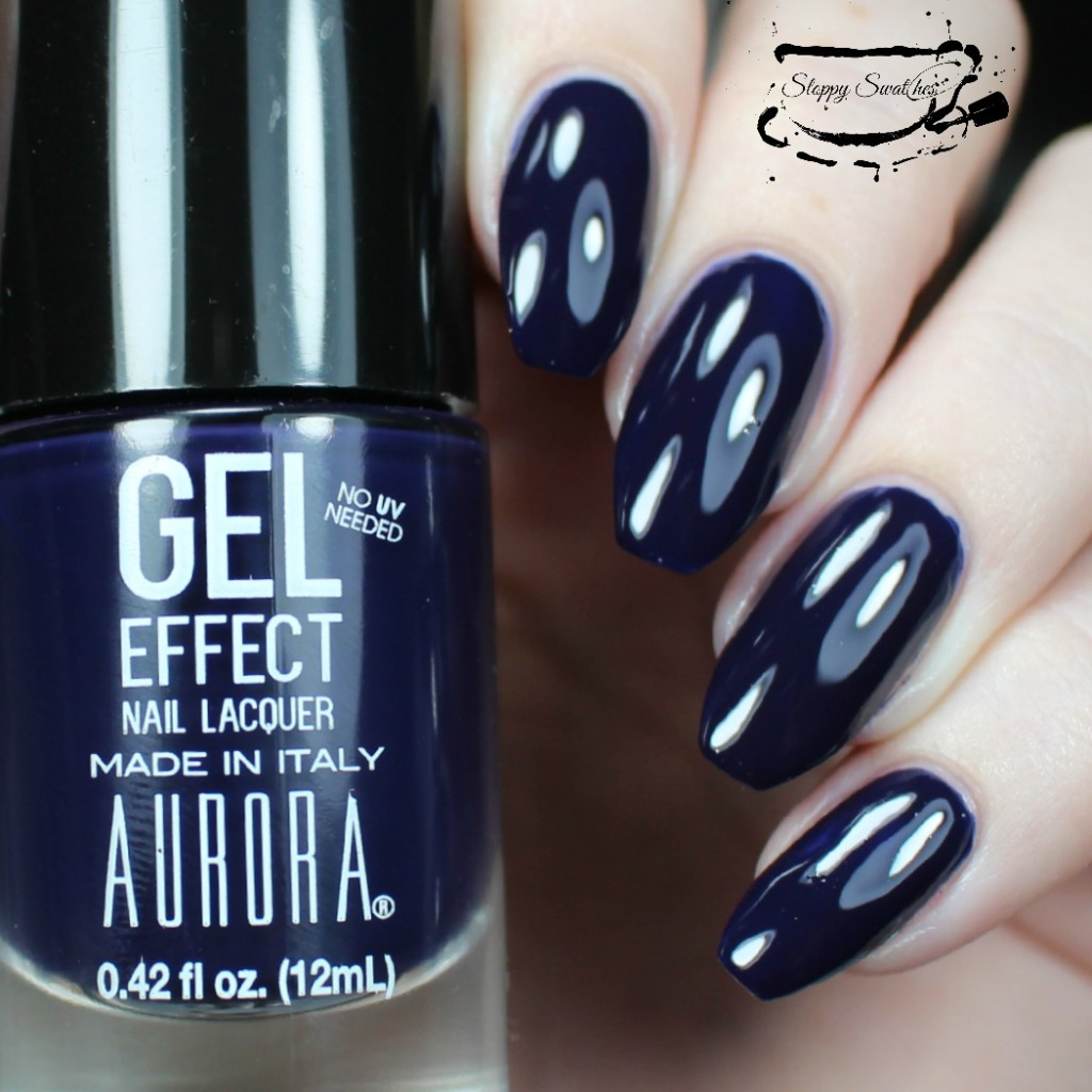 "Aurora Polish in ""Inky Dinky"" at 2 coats with topcoat"