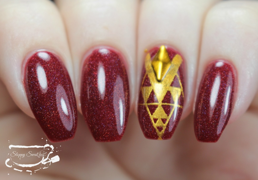 Nailart Red And Gold Stamped Nails Ft Nvr Enuff Unicorn Scars