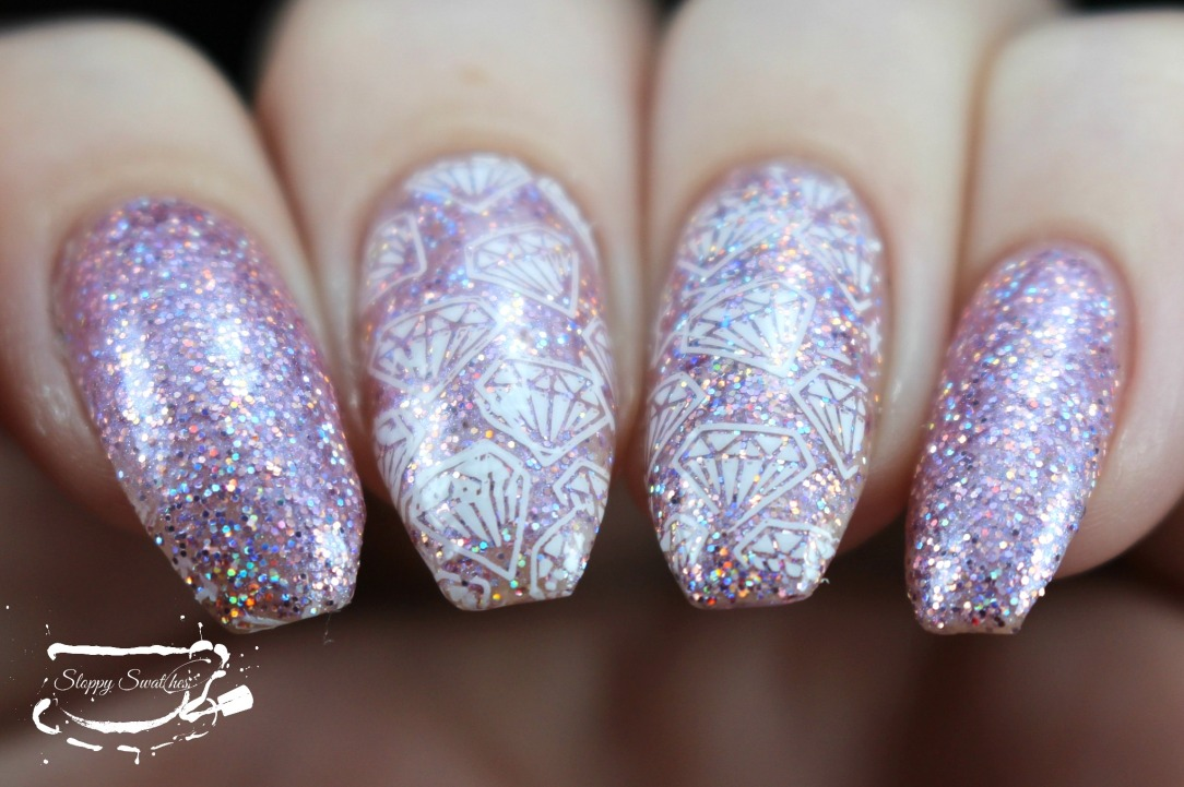 Nailart Pink Glitter Diamond Nails Ft Smoky Mountain Lacquers